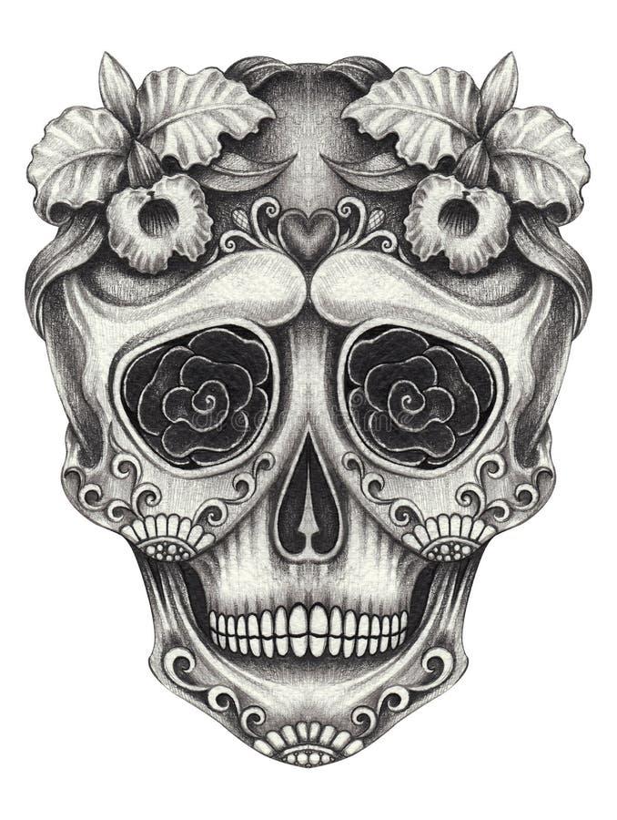艺术糖死者的头骨天 手在纸的铅笔图 皇族释放例证