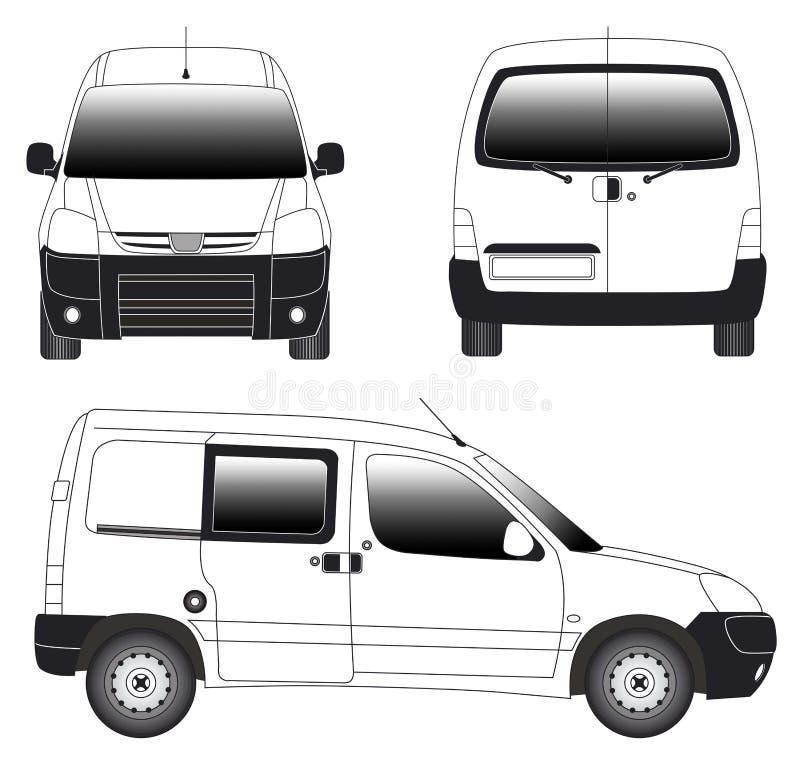 艺术线路微型有篷货车 向量例证