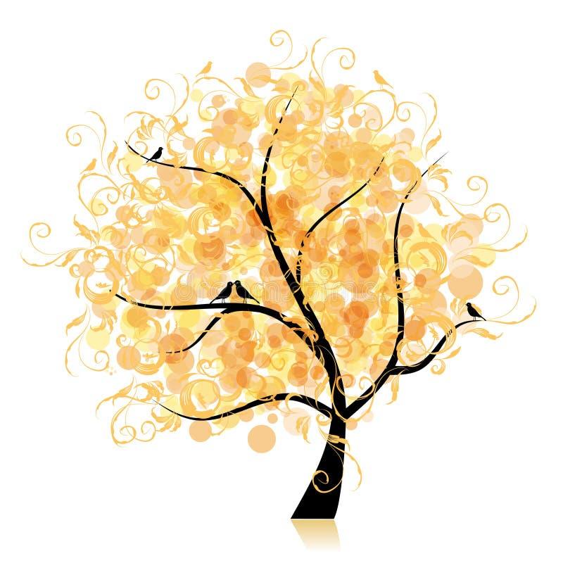艺术美丽的金黄叶子结构树 皇族释放例证