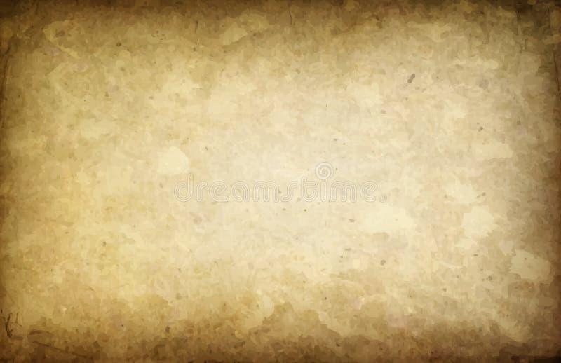 艺术老被染黄的纸背景 库存例证