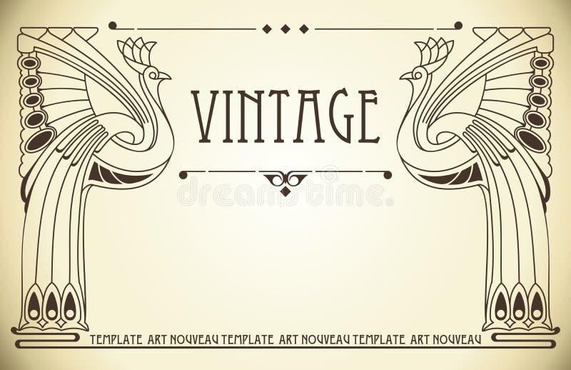 艺术背景nouveau葡萄酒 皇族释放例证