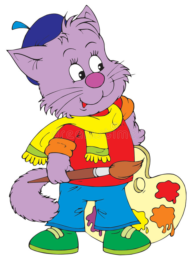 艺术艺术家猫夹子向量 皇族释放例证