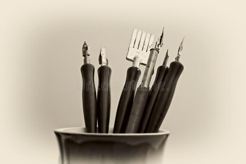 艺术艺术性的笔 免版税库存图片