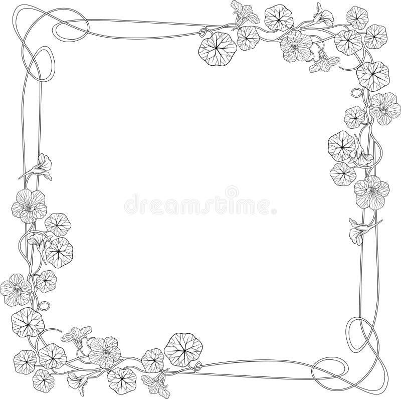 艺术花框架旱金莲属植物nouveau 库存例证