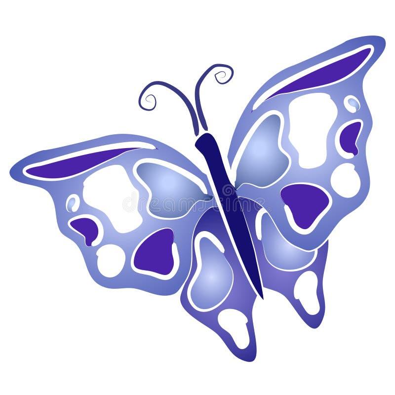 艺术蓝色蝴蝶夹子翼 库存例证