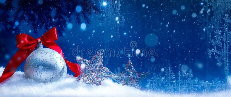 艺术蓝色雪圣诞节背景 免版税图库摄影