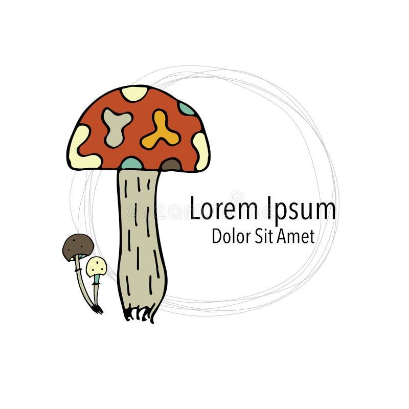 艺术蘑菇,您的设计的剪影 皇族释放例证