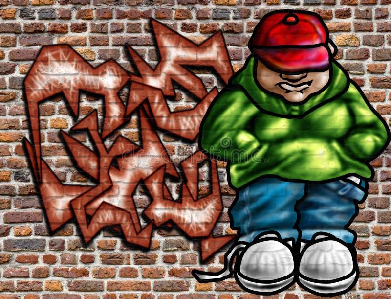 艺术街道画墙壁 向量例证
