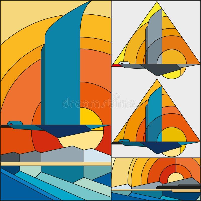 艺术装饰传染媒介色的几何样式 艺术装饰彩色玻璃样式 鸟飞行有太阳背景 向量例证