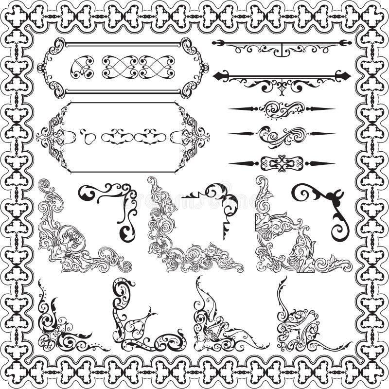 艺术装饰品ornane设计元素集 向量例证