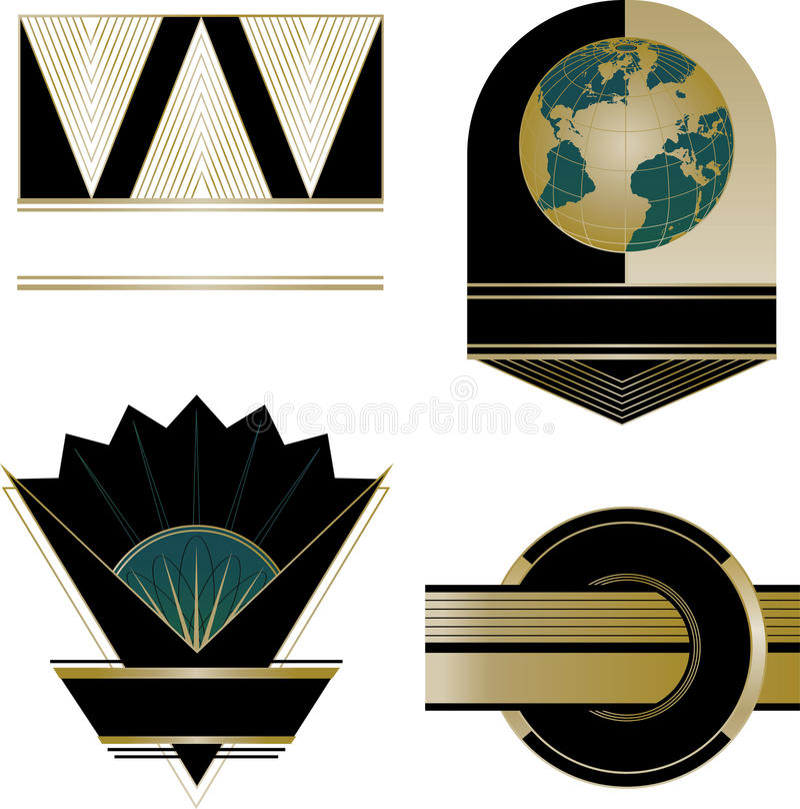 艺术装饰商标和设计元素 库存例证