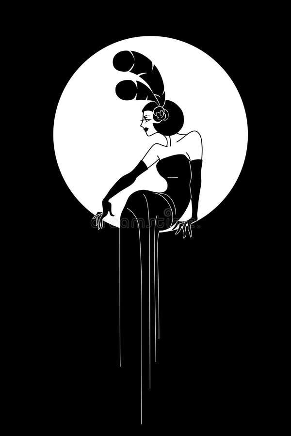 艺术装饰夫人时尚设计 免版税库存照片
