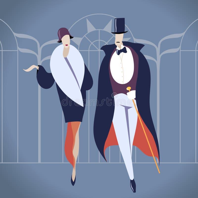 艺术装饰夫妇例证 免版税库存图片