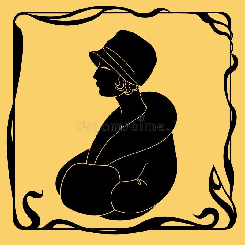艺术装饰妇女剪影 向量例证