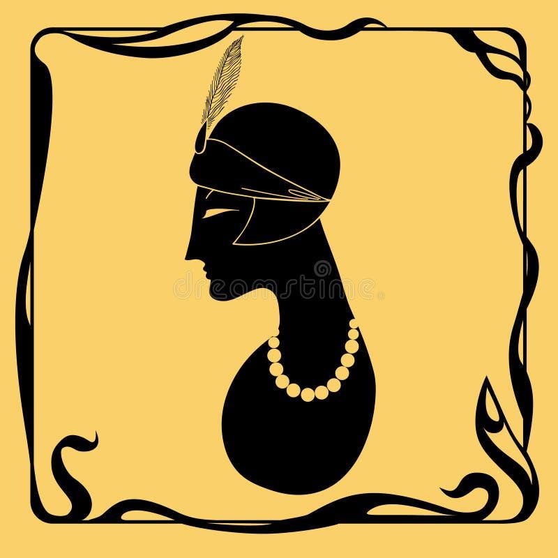 艺术装饰妇女剪影 免版税库存照片