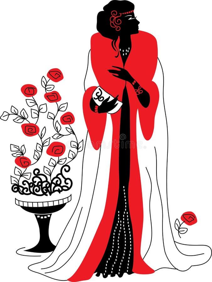 艺术装饰妇女的图象剪影 库存例证