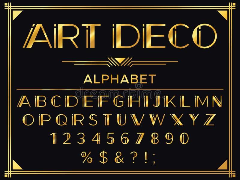 艺术装饰字体 金黄20世纪20年代装饰信件、葡萄酒时尚印刷术和古金色字母表传染媒介集合 向量例证