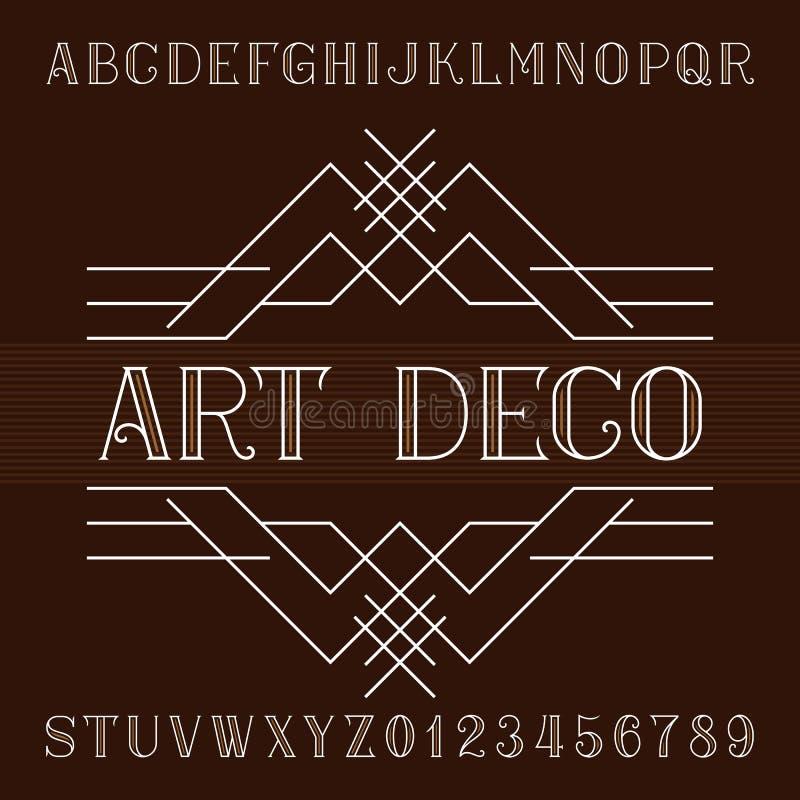艺术装饰字母表在概述样式的向量字体 细体类型信件和数字 皇族释放例证