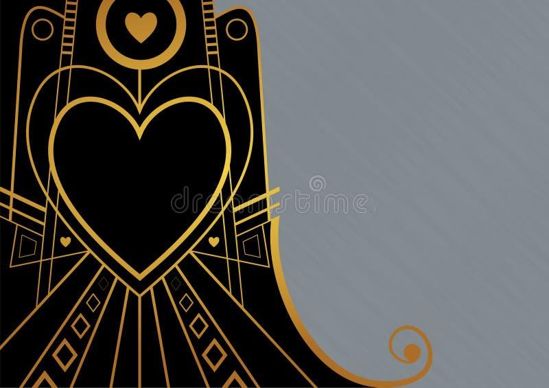 艺术装饰心脏边界 向量例证