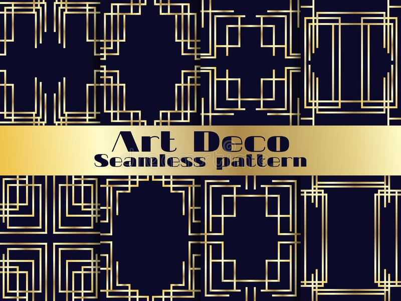 艺术装饰无缝的样式集合 与金黄梯度的葡萄酒背景 20世纪20年代和20世纪30年代的样式 向量 向量例证