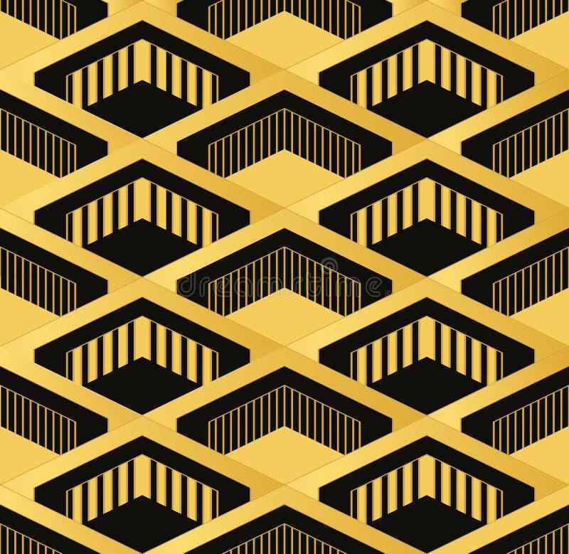 艺术装饰无缝的葡萄酒墙纸样式 几何decorativ 免版税库存照片