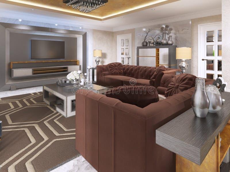 艺术装饰样式的豪华客厅与紫色沙发 库存例证
