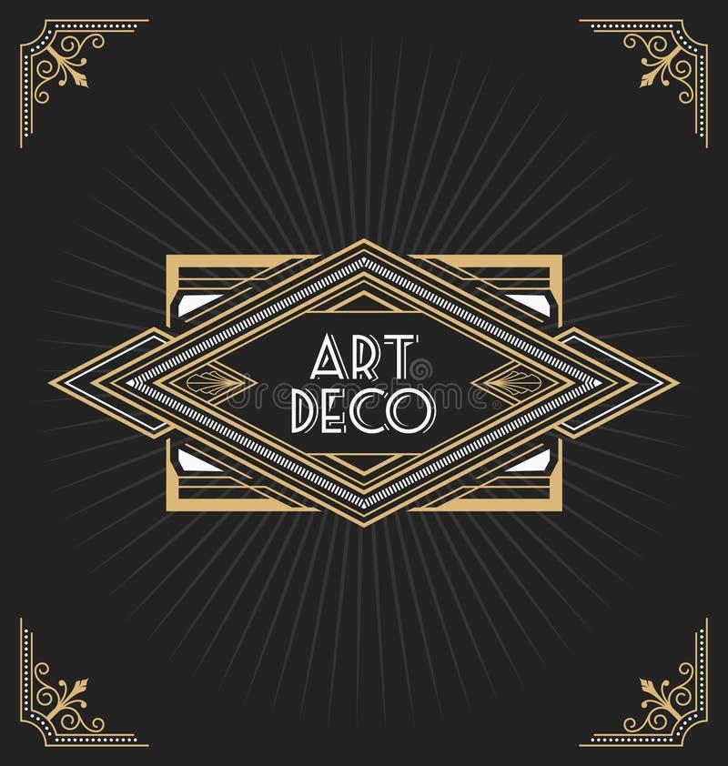 艺术装饰框架标签设计 库存例证