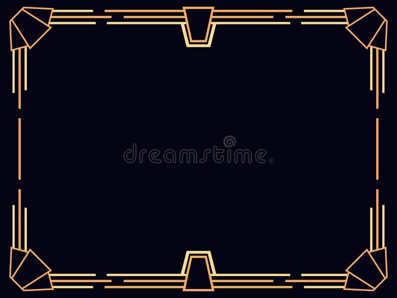 艺术装饰框架 葡萄酒线性边界 设计邀请、传单和贺卡的一块模板 1920的样式年 库存例证