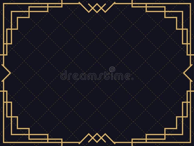 艺术装饰框架 r 设计邀请、传单和贺卡的一块模板 皇族释放例证