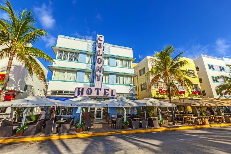 艺术装饰海洋驱动的殖民地旅馆在迈阿密海滩 库存照片