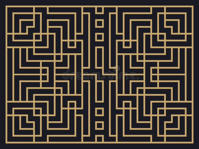 艺术装饰线性样式 设计邀请、传单和贺卡的一块模板 皇族释放例证