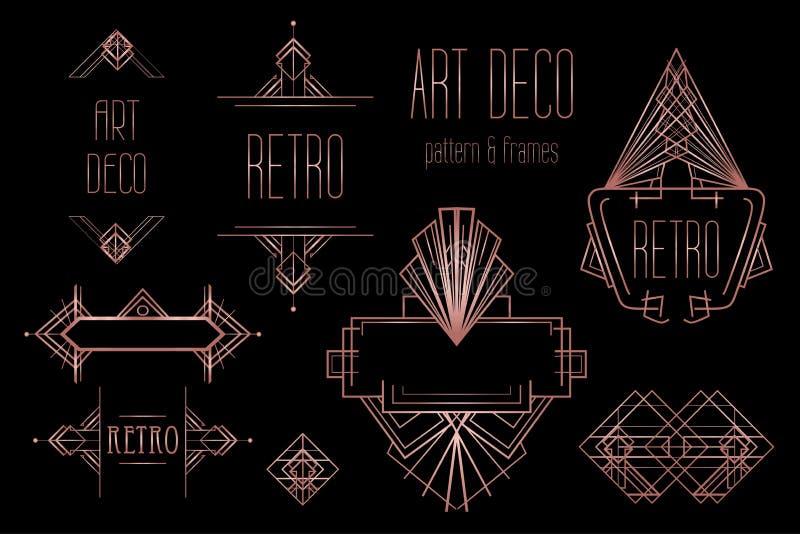 艺术装饰葡萄酒样式和设计元素 减速火箭的党geome 库存例证