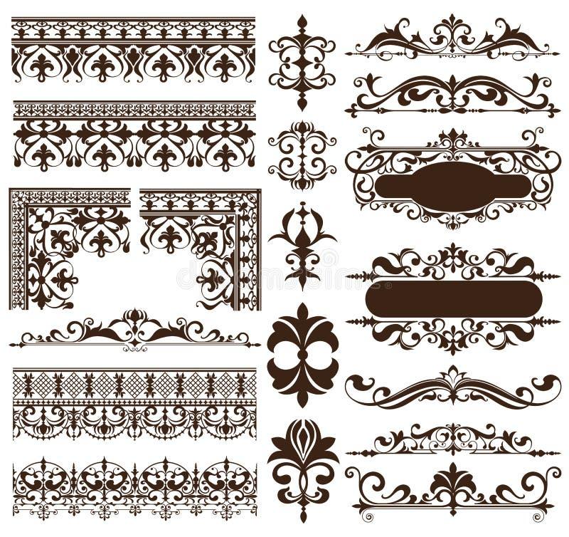 艺术装饰葡萄酒框架被隔绝的艺术nouveau华丽简单的元素的装饰品和边界角落的设计元素  皇族释放例证