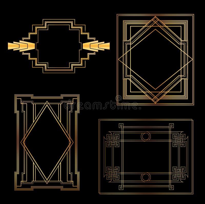 艺术装饰葡萄酒框架 皇族释放例证