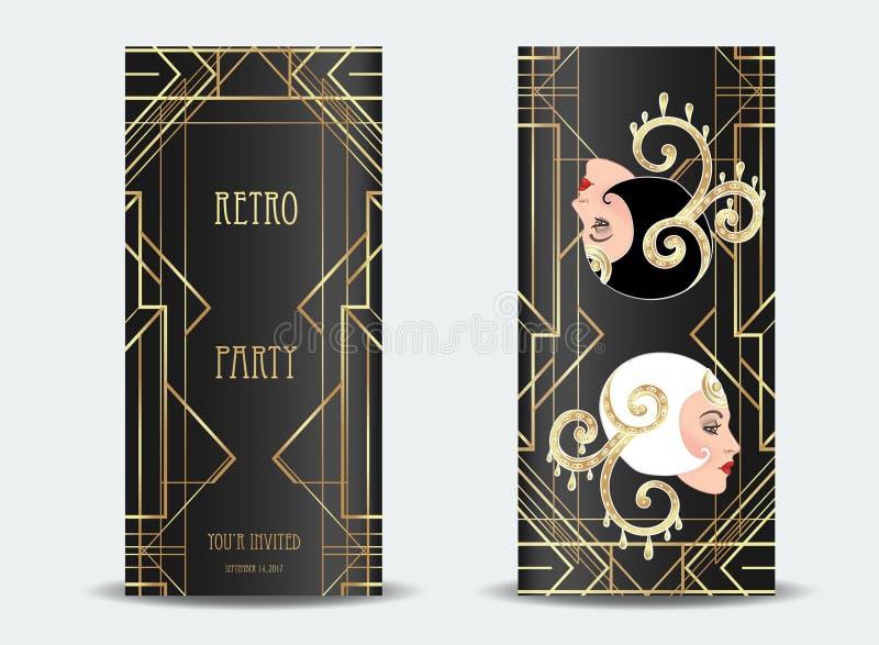 艺术装饰葡萄酒邀请与例证的模板设计  向量例证