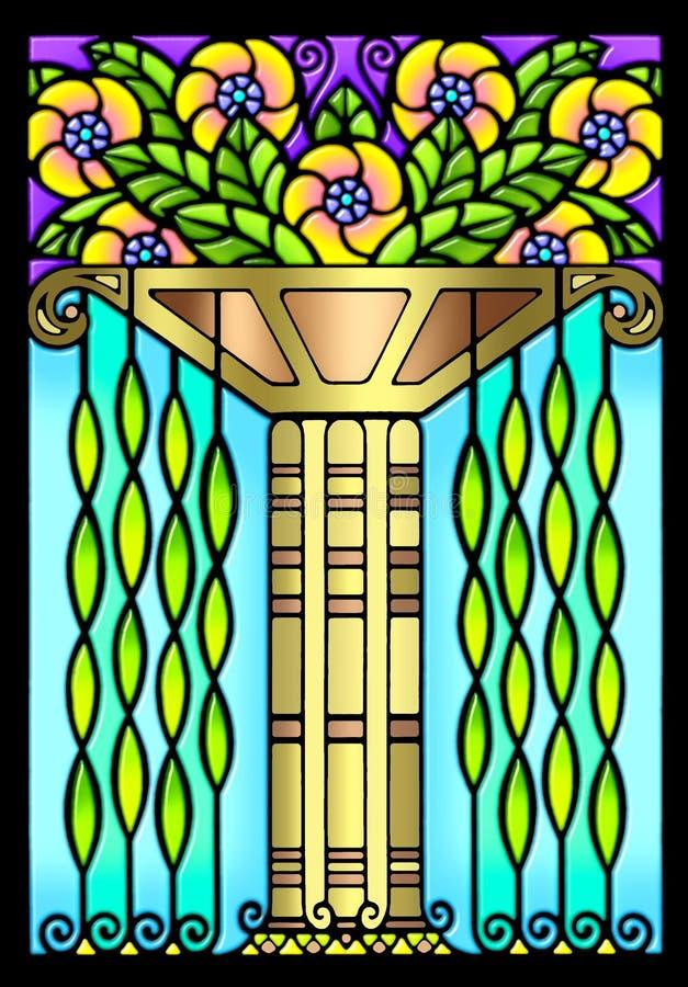 艺术装饰设计花卉葡萄酒 皇族释放例证