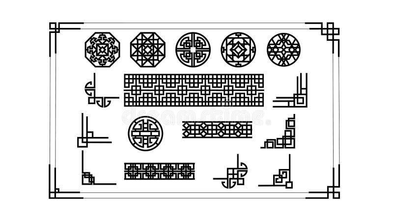 艺术装饰边界线 现代韩语、亚洲框架、装饰边界线和几何标签框架 维多利亚女王时代的葡萄酒 向量例证