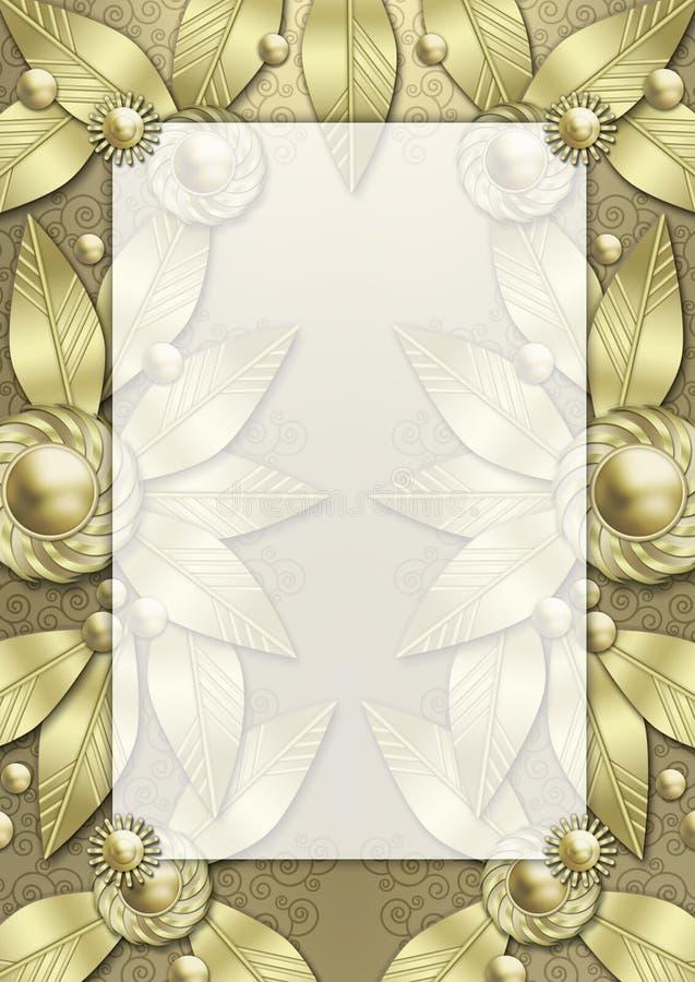 艺术装饰金属框架的叶子 库存例证