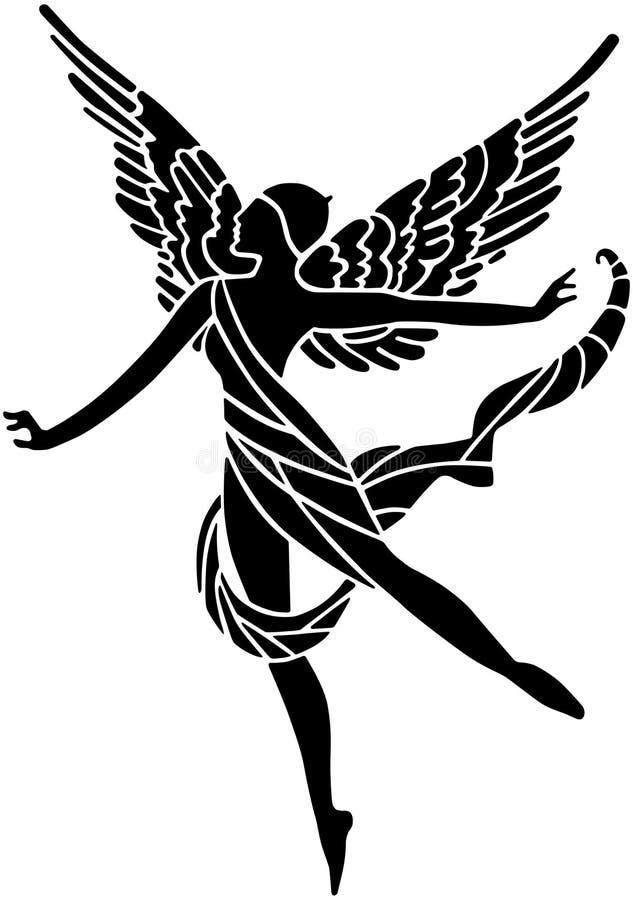 艺术装饰飞过的女神 库存例证