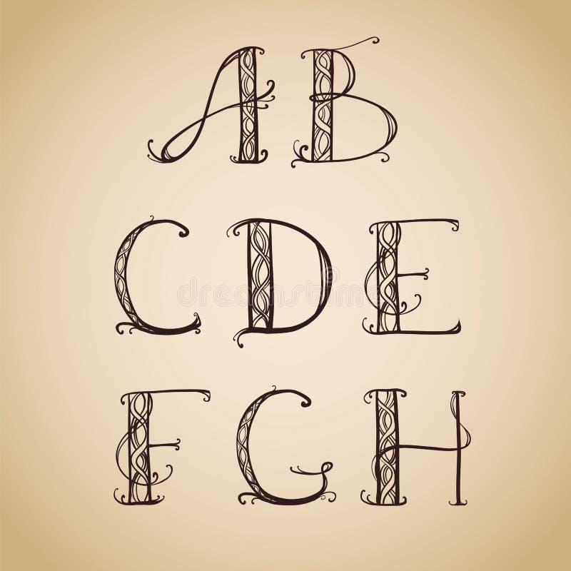艺术装饰,艺术nouveau,字体,信件 向量例证