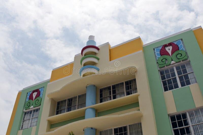 艺术装饰建筑学在南海滩,迈阿密的海洋驱动 库存图片