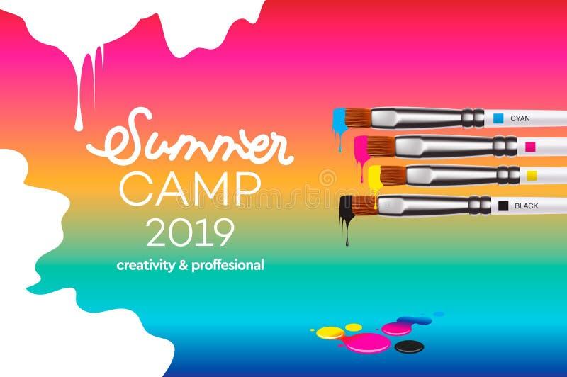 艺术设计学校的,演播室,路线,类,教育夏令营2019年模板 现代设计传染媒介例证 库存例证