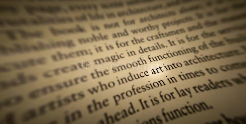 艺术词在一本旧书突出了并且聚焦了 库存照片