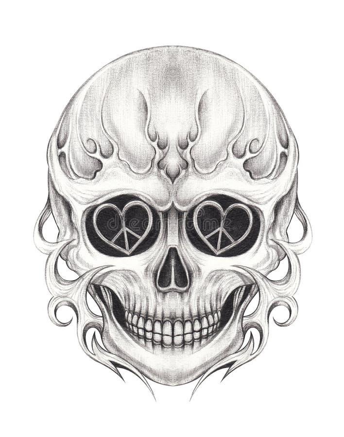 艺术超现实的头骨纹身花刺 库存例证