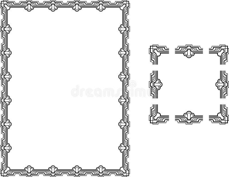 艺术边界deco框架样式 皇族释放例证