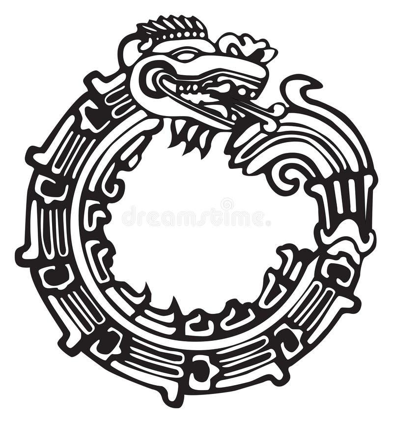 艺术阿兹台克龙极大的玛雅人tatto 向量例证