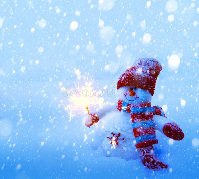 艺术雪人圣诞卡 免版税库存图片