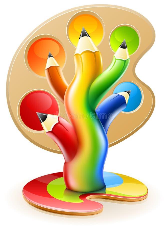 艺术颜色概念创造性的铅笔结构树 向量例证