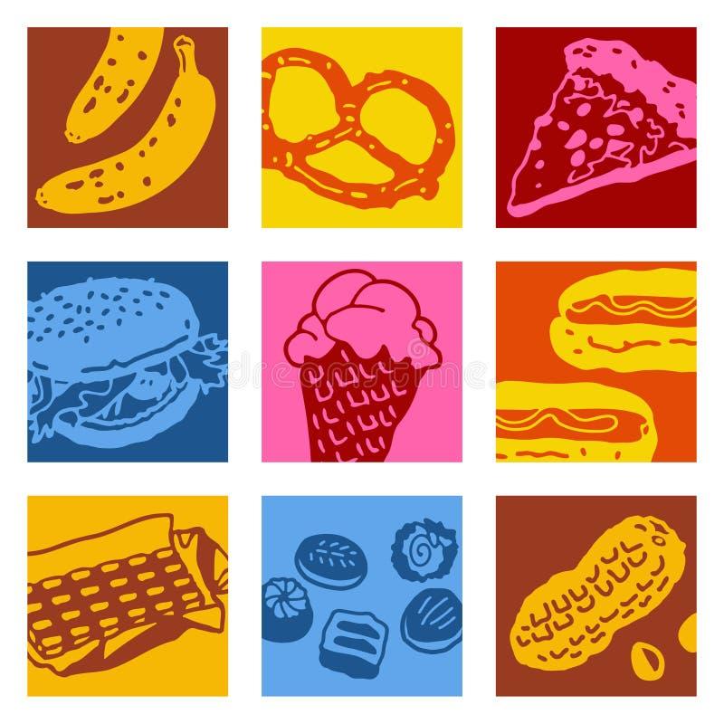 艺术食物对象流行音乐 库存例证
