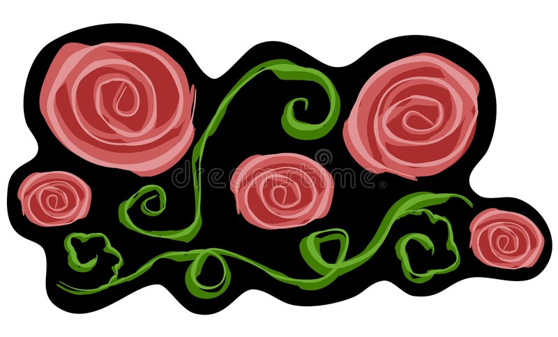 艺术黑色夹子粉红色玫瑰 向量例证